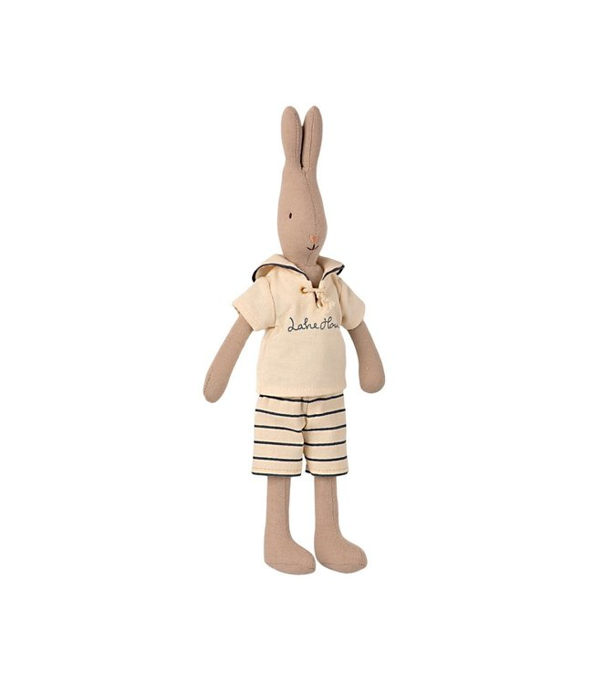 Maileg Rabbit size 2, sailor - off-white/petrol