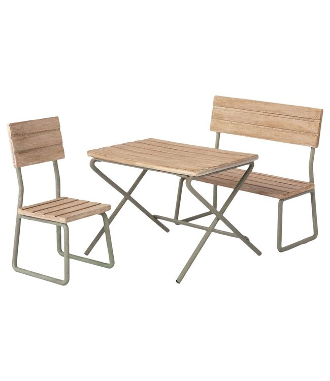 Garden set, table w. chair and bench