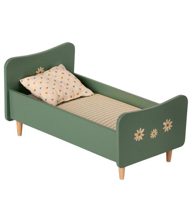 Wooden bed, mini - mint blue
