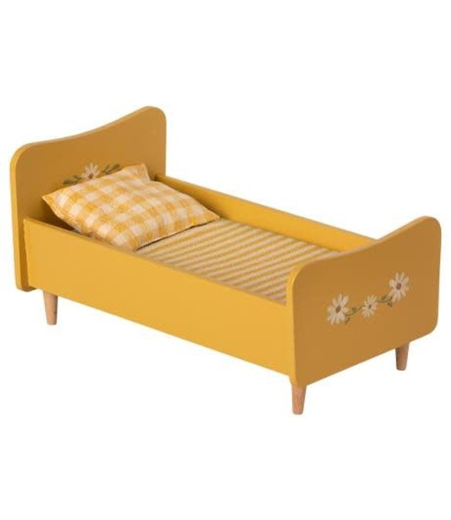Wooden bed, mini - yellow