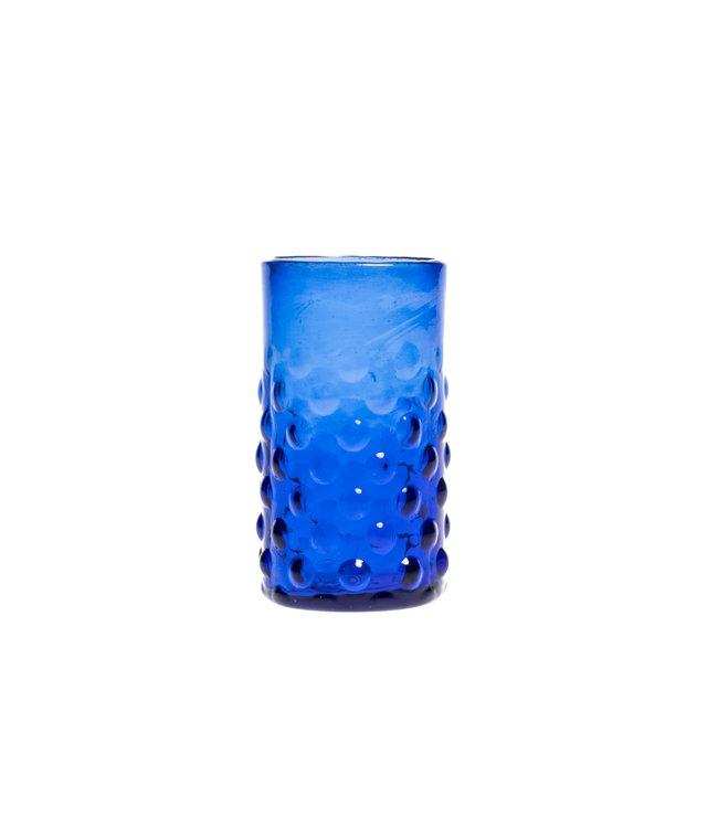 Mouth blown bubble glass - blue