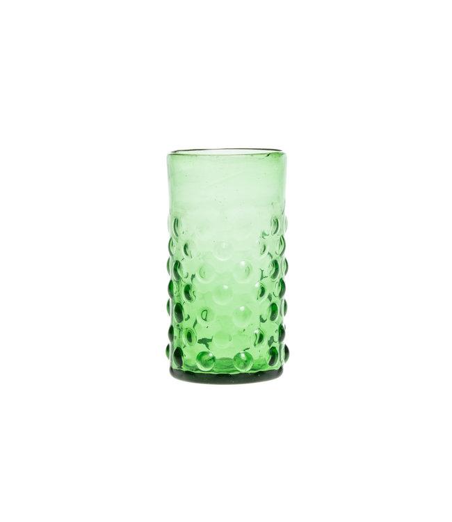 Mondgeblazen glas met bubbels - groen