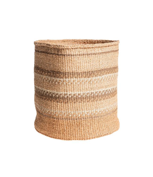 Sisal basket Kenya - earth colors, practical weave #262