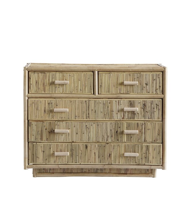 Cabinet with 5 drawers, rattan