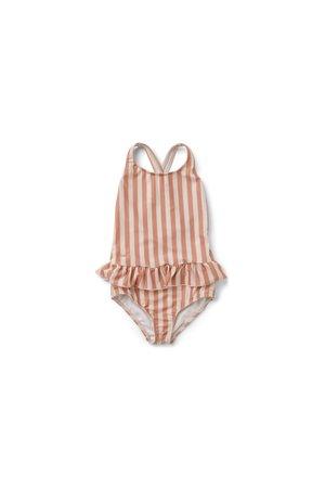 Liewood Amara swimsuit - stripe: coral blush/creme de la creme