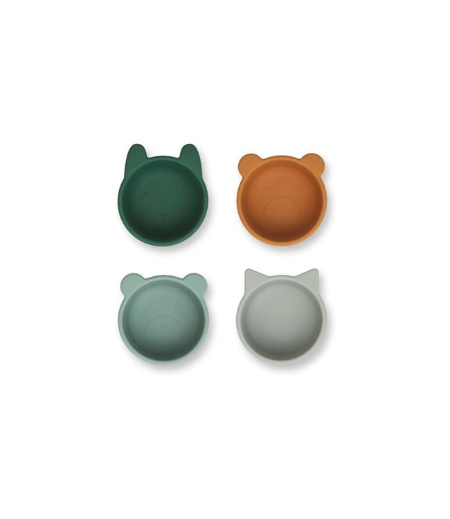 Malene silicone bowl 4-pack - green multi mix