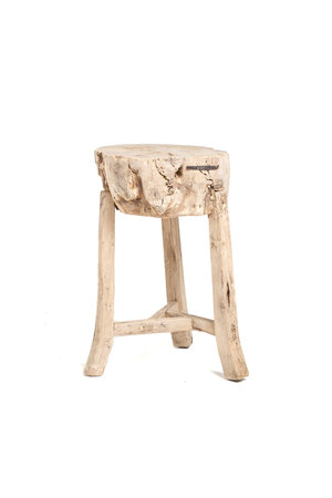 High stool, tree trunk with 4 legs