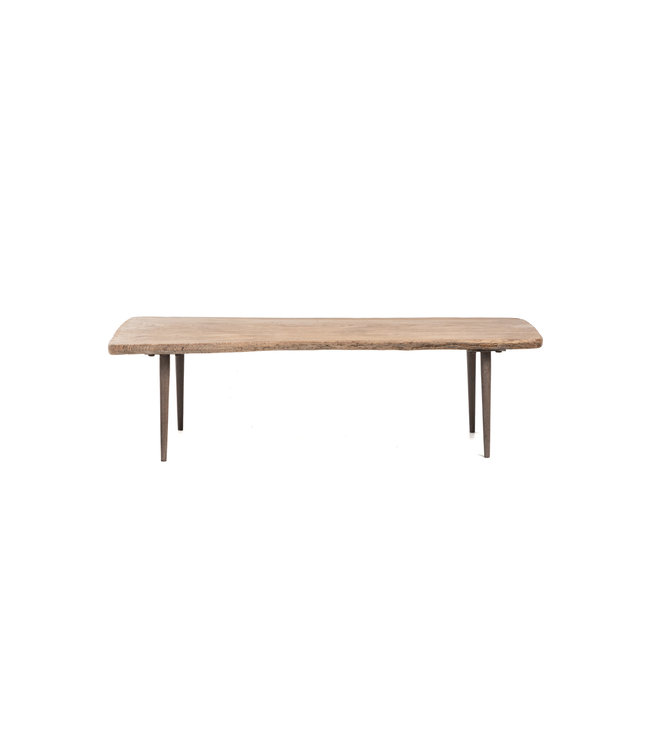 Small coffee table elm wood with metal legs