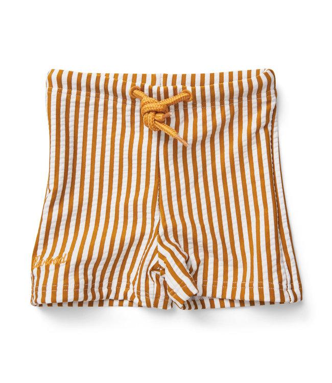 Otto swim pants seersucker - stripe mustard/white