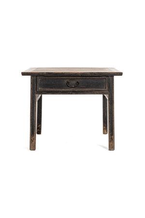 Authentieke vierkante tafel met 2 lades, gepatineerde olm