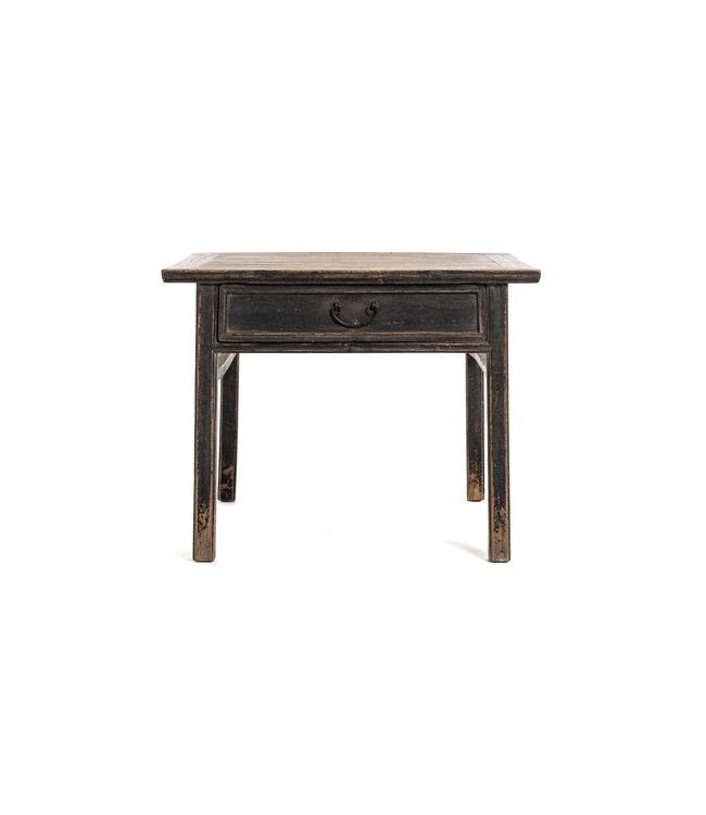 Authentic square table with 2 drawers, patinated elm