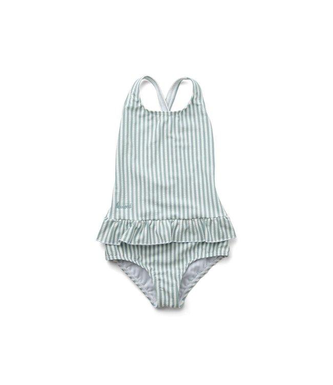 Liewood Amara swimsuit seersucker - Y/D stripe: sea blue/white