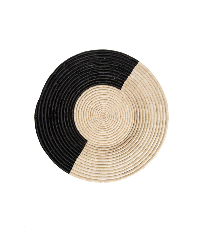 Large geo black + natural raffia woven wall art plate