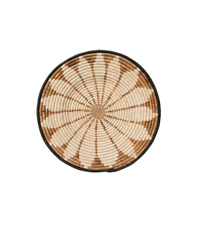 Large banana burst woven wall art plate