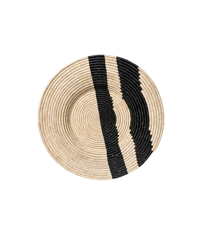 Black double striped woven wall art plate