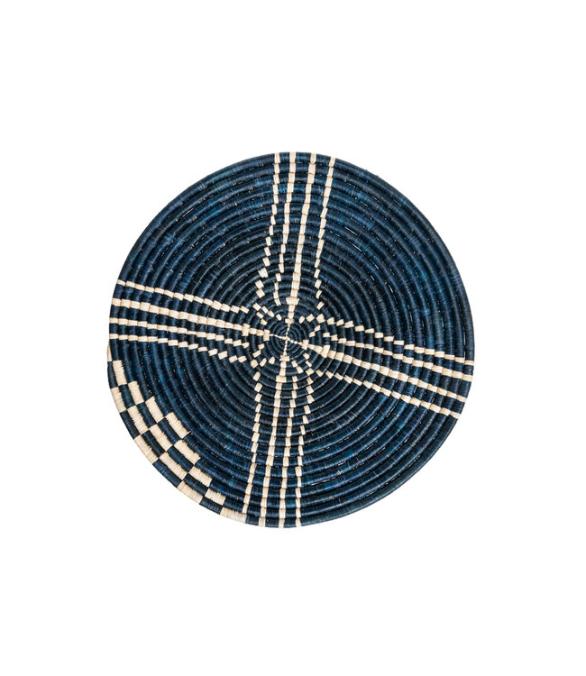 Large navy Sanaa woven wall art plate