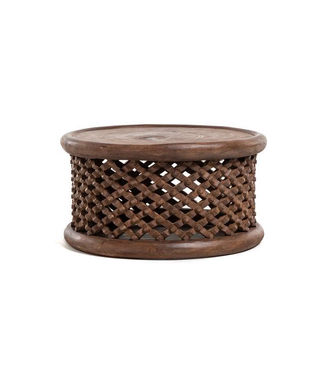 Bamileke coffee table - walnut - Ø80cm