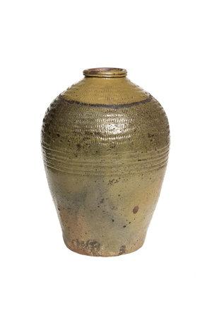 Antique brown/green wine storage jar #1 - °1900