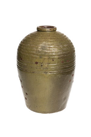 Antieke wijn pot bruin/groen #2 , Shandong - °1900