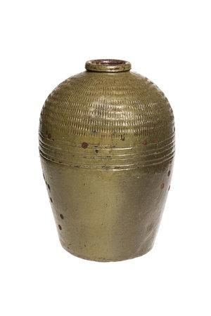 Antique brown/green wine storage jar #2 - °1900