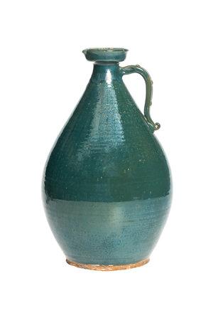 Hoge turquoise vaas - °1950