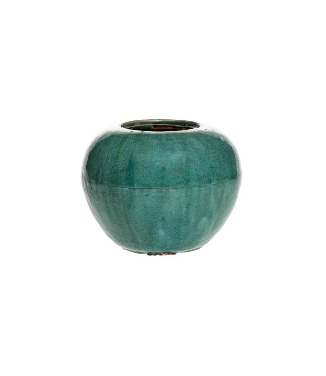 Antieke, ronde turquoise gember pot - °1900