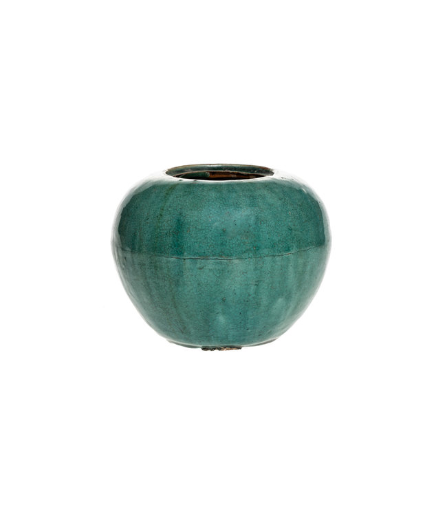 Antique, round turquoise ginger pot - °1900