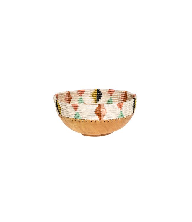 Medium desert flower houten schaal