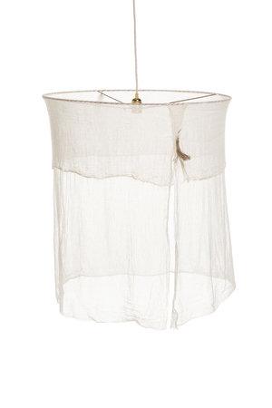 Suspension souple tarlatane lavée écrue pompon ficelle de lin brut