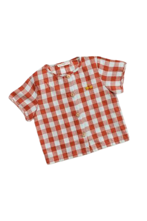 Fin & Vince Button up - picnic plaid w/ cherry embroidery