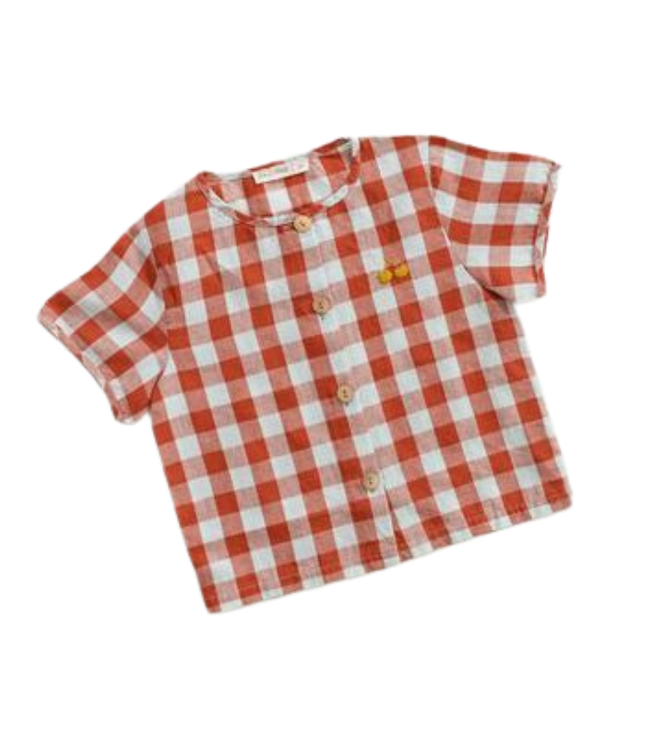 Button up - picnic plaid w/ cherry embroidery