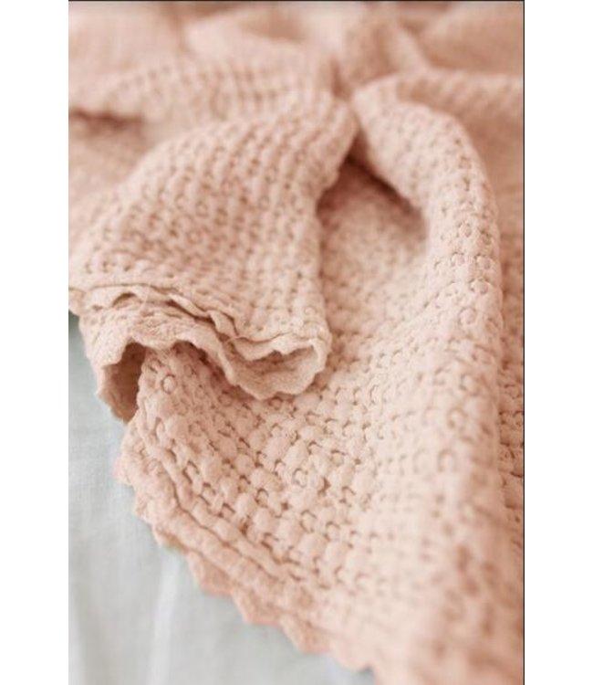 Cozy waffle baby blanket - peach