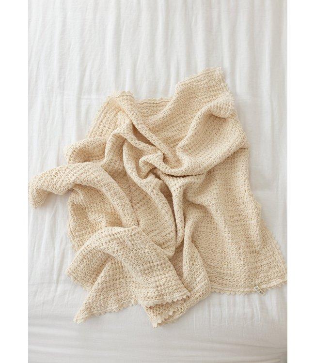 Cozy waffle baby blanket - milk