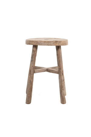 Elm wood antique stool round #19
