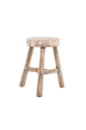 Elm wood antique stool round #18
