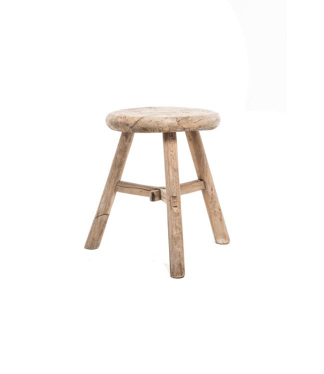 Elm wood antique stool round #21