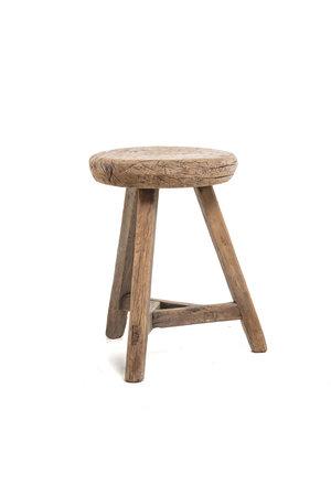 Elm wood antique stool round #24