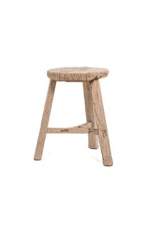 Elm wood antique stool round #23