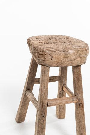 Elm wood antique stool round #25
