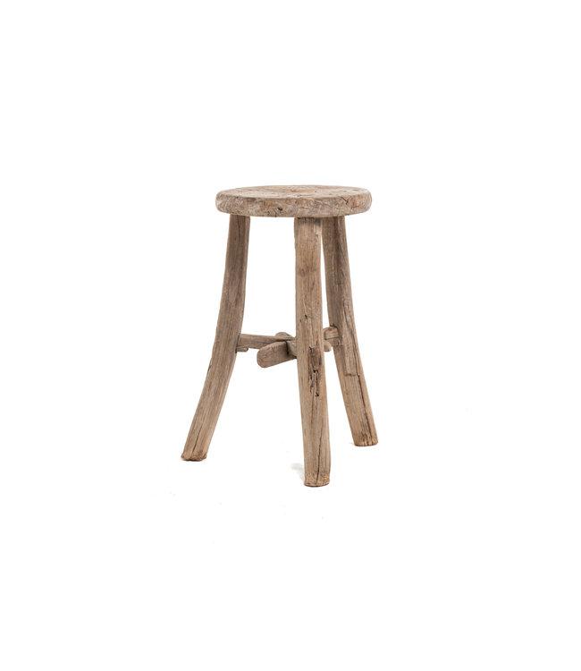 Elm wood antique stool round #22