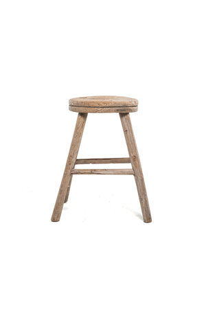 Elm wood antique stool round #17