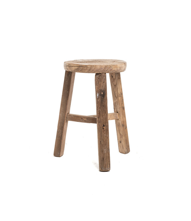 Elm wood antique stool round #15