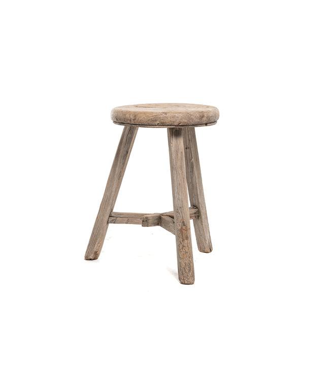 Elm wood antique stool round #16