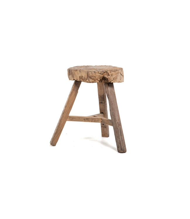 Elm wood antique stool round #20
