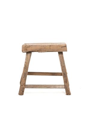 Old rectangular side table elm wood #4