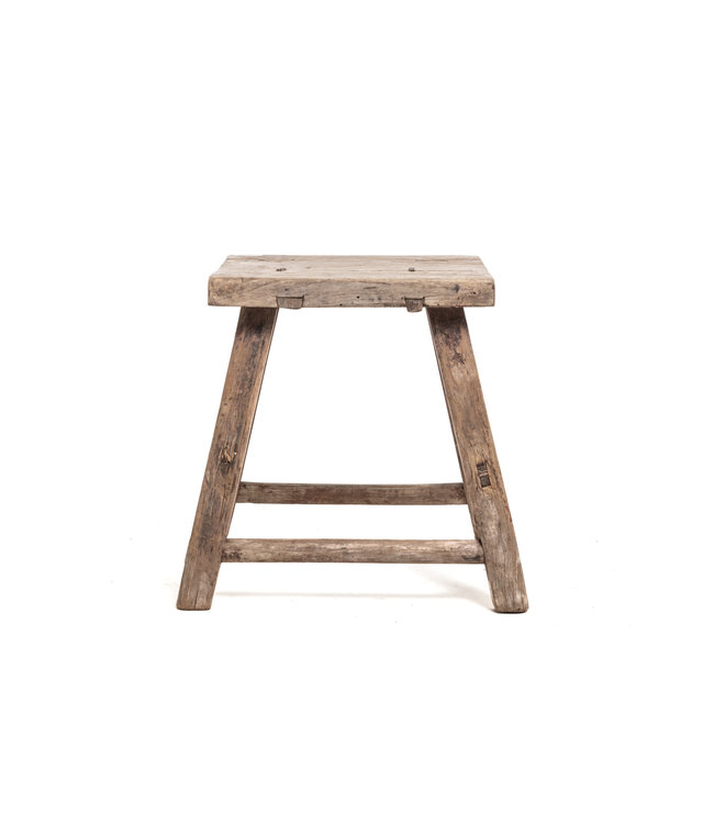 Old square side table elm wood #2