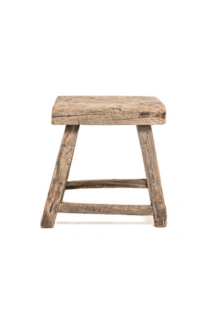 Old square side table elm wood #3