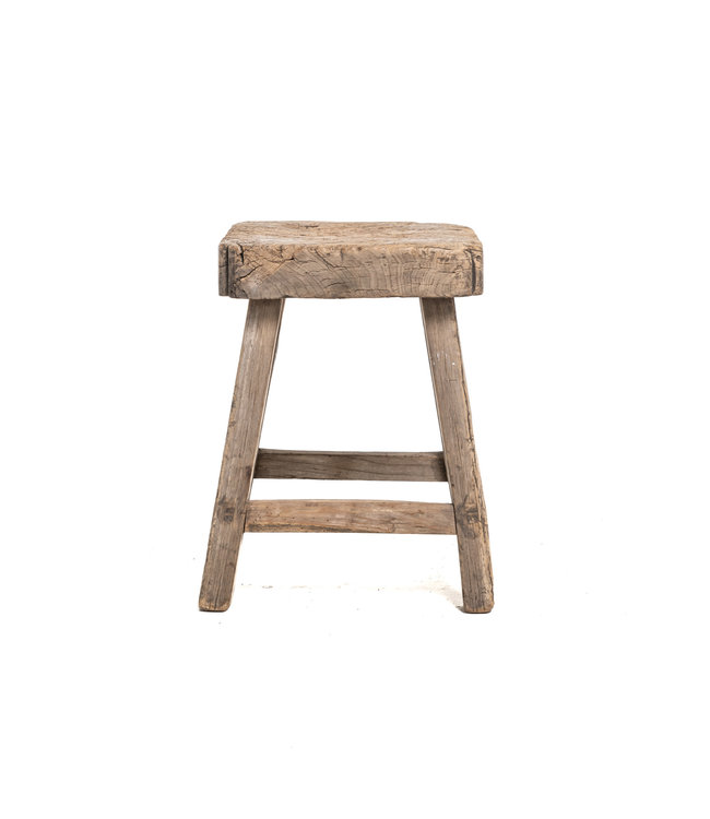 Old square side table elm wood #5