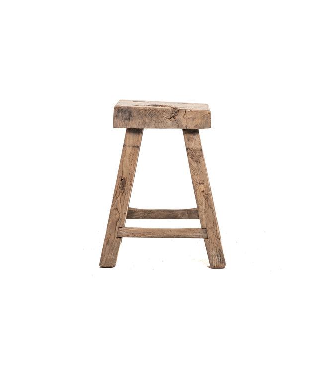 Old square stool elm wood #1