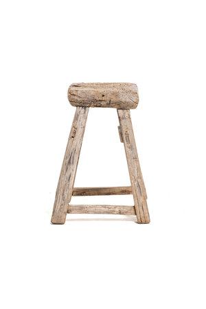 Old square stool elm wood #2